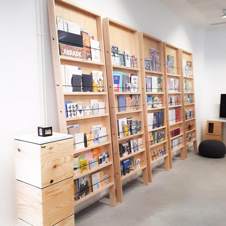 IMD Education - Ecole beaux arts Nantes, bibliothèques rangements bois
