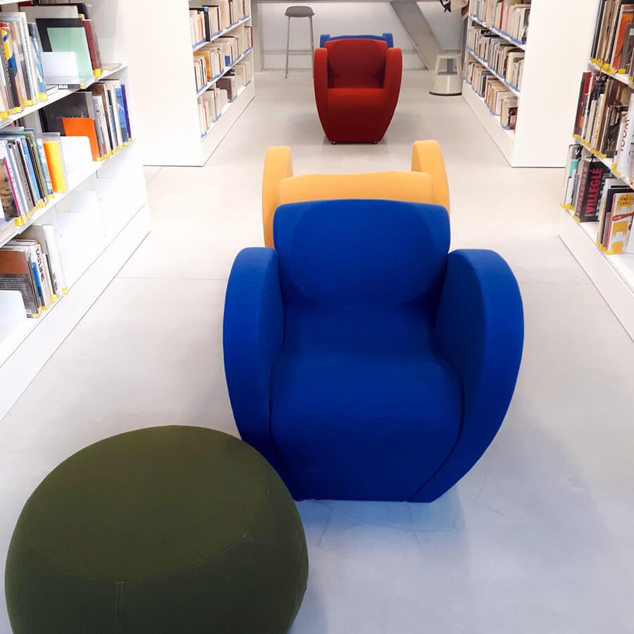 IMD Education - Ecole beaux arts Nantes, fauteuils bibliothèque